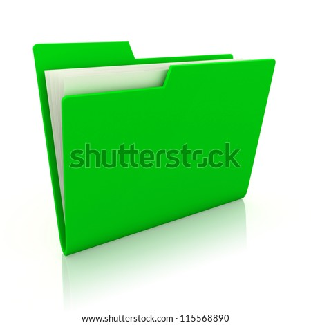 3d image of green file folder