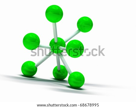 3d image of green molecular structure isolated in white - stock photo