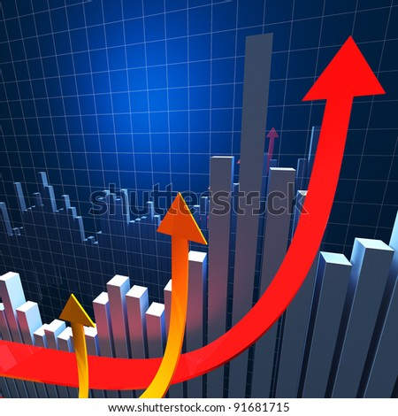 3d image of growing arrows and financial graph