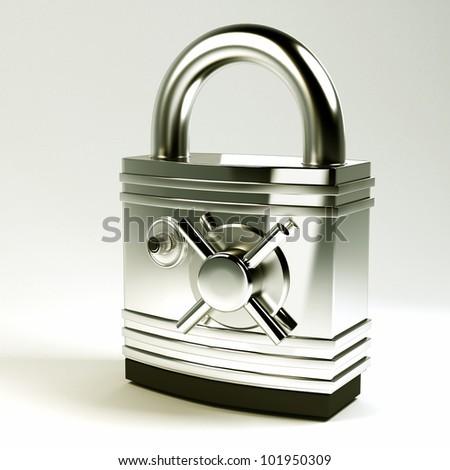 3d image of hi tech pad lock with Safe Lock
