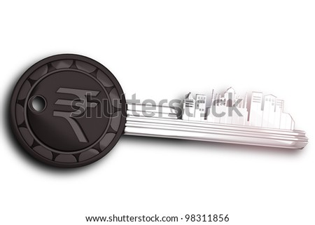 3d image of key ring on India with rupee symbol