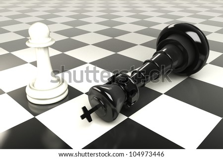 3d image of king and pawn on chess board