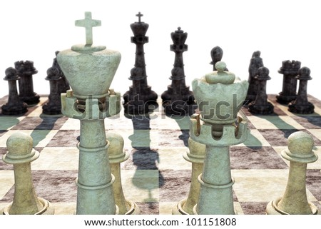 3d image of king with chess pieces in rock texture