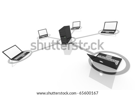 3D image of laptop network connected to server