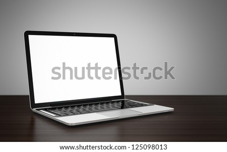 3D image of modern laptop with blank screen on wooden table next to gray wall
