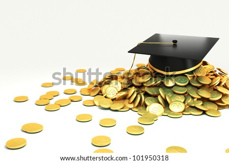 3d image of mortar board on hip of gold coin against white background