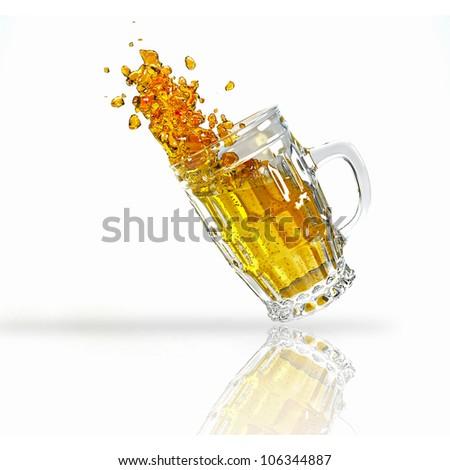 3d image of mug full of splashing chilled beer against white background - stock photo