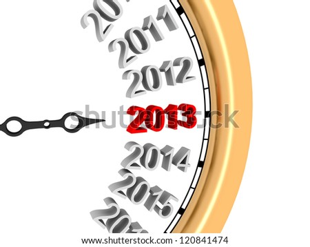 3d image of new year's clock in 2013.