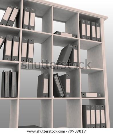 3d image of office bookshelf with folders