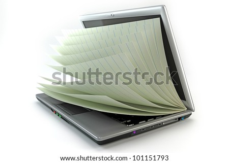 3d image of pages of open book in notebook showing e-book