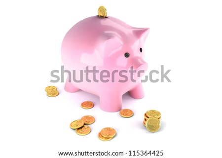 3d image of piggybank with gold coin against white background