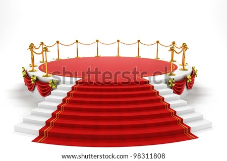 3d image of red carpet on step of stage