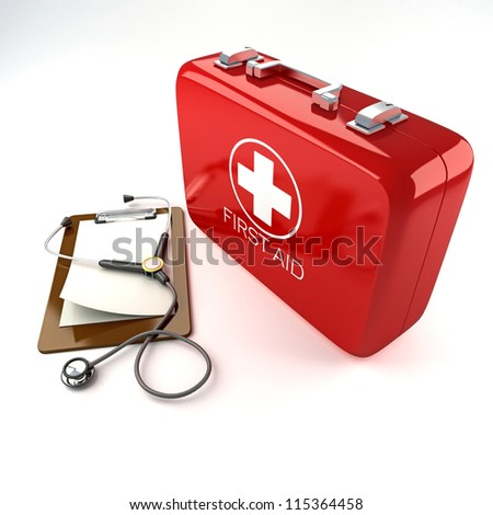 3d image of red first aid box with stethoscope against white background