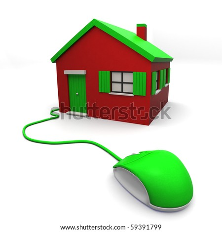 3D image of residential structure with computer mouse