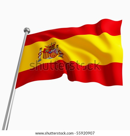 3d image of spain flag isolated on white