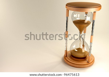 3d image of stand flowing in hourglass against abstract background