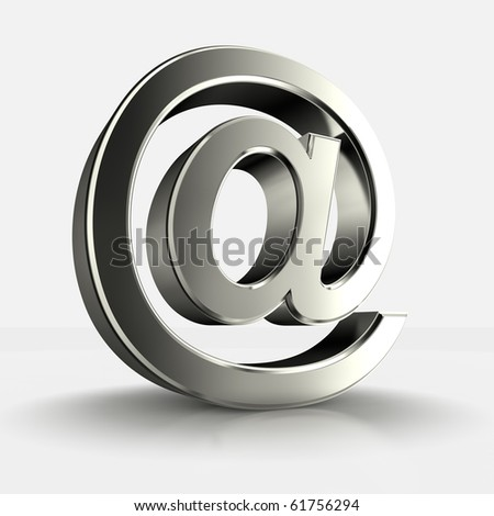 3d image of steel arroba isolated in white background