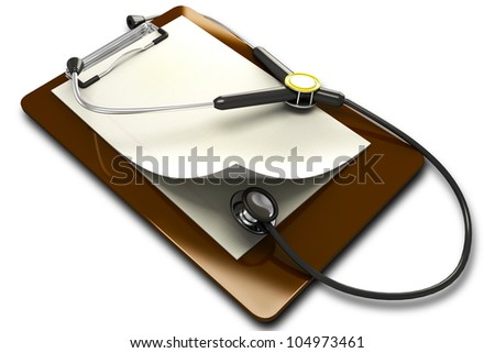 3d image of stethoscope on clipboard against white background
