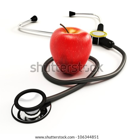 3d image of stethoscope with apple against white background