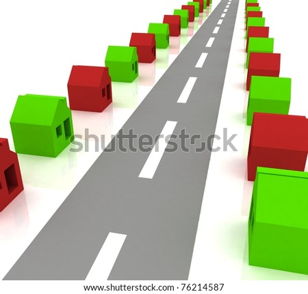 3d image of street with houses