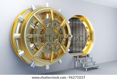3d image of vault with golden door