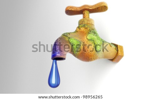 3d image of water droplet from earth in shape of faucet showing water conservation concept