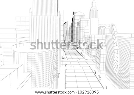 3d image of wire frame view of city scape