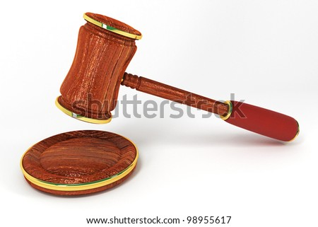 3d image of wooden law gavel against white background