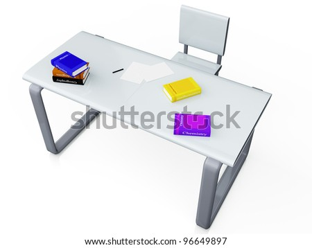 3d image on a metal table next to the chair are books on a white background