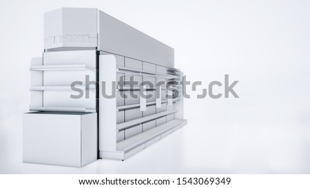 3D image side view of grocery shelves. Also it has shelf stoppers, big side stoppers, toppers and front/end shelves. On the white isolated background.