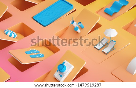 3d image Summer beach accessories items Colorful beauty swimming pool abstract theme Flip flop display Yellow Orange gradient background with blue and white objects on tiled floor Pattern Сток-фото ©