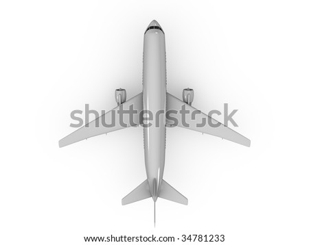 3d image, top view Airplane over white background