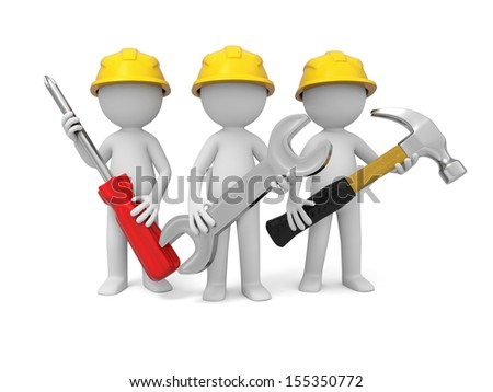 3 3d industrial workers  with screwdriver, hammer and wrench