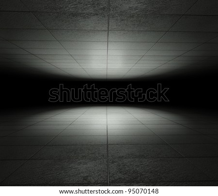 3d infinite space with grunge tiles