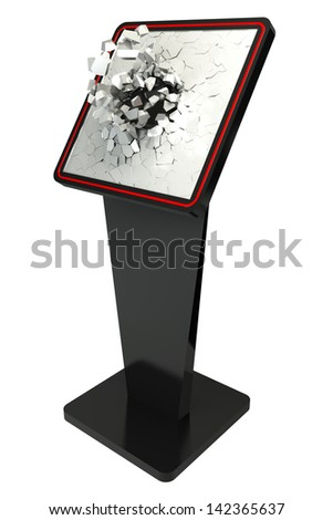 3d Information terminal broken screen; Point-of-sale (POS) or Point-of-information (POI) kiosk, white background