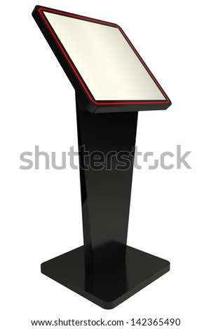 3D Information terminal Point-of-sale POS or Point-of-informatio n POI kiosk white background