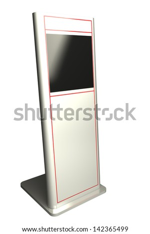 3d Information terminal; Point-of-sale (POS) or Point-of-information (POI) kiosk, white background