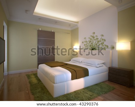 3d Interior Bedroom In New Flat Stock Photo 43290376 :