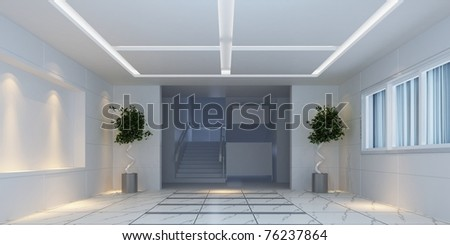 3d interior design hallway with plants