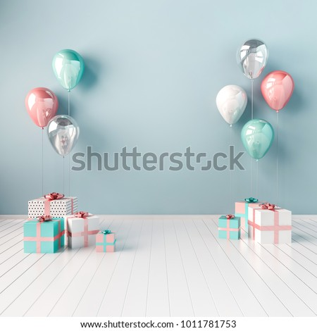 3D interior illustration with blue, white, and pink balloons and gift boxes. Glossy composition with empty space for birthday, easter, party or other promotion social media banners.