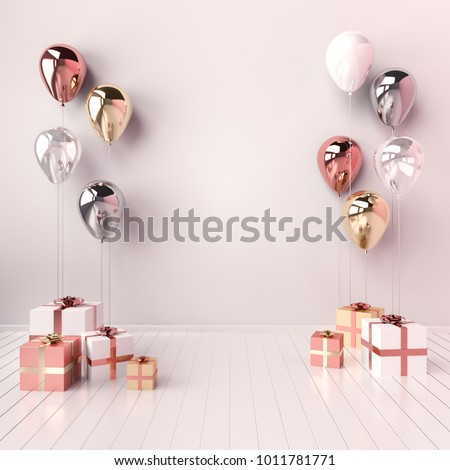 3D interior illustration with white, golden, silver and rose gold balloons and gift boxes. Glossy metallic  composition with empty space for birthday, party or other promotion social media banners.