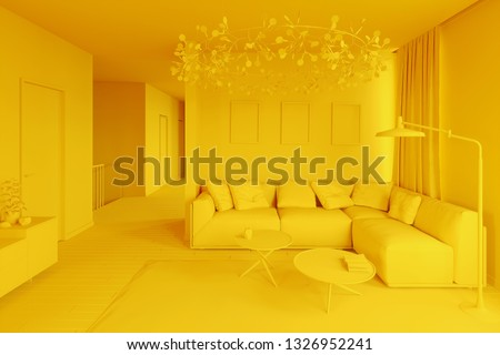 3d interior one color yellow clay render. 3d illustration