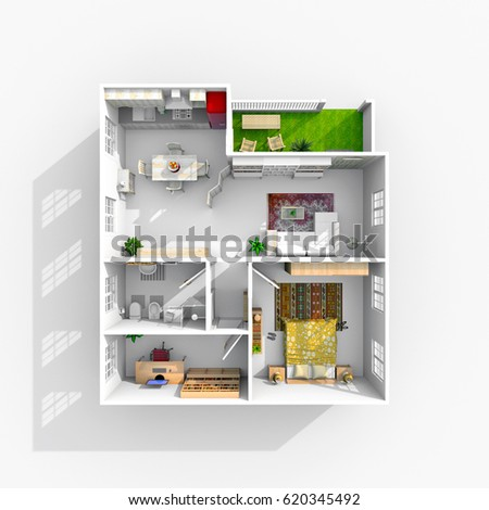 Shutterstock 3d interior rendering of furnished home apartment