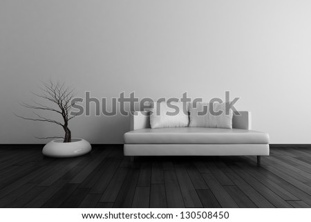 3D Interior Rendering of White Couch in Front of Wall