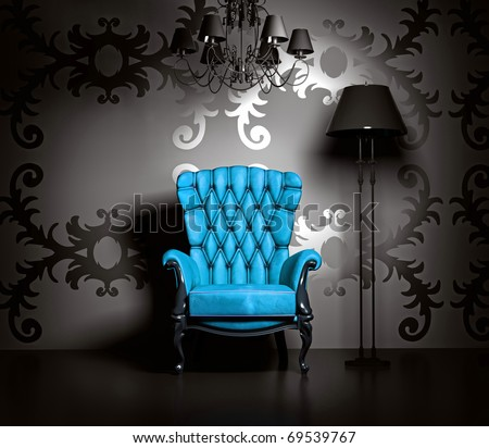3D interior scene with blue classic armchair and lamp.