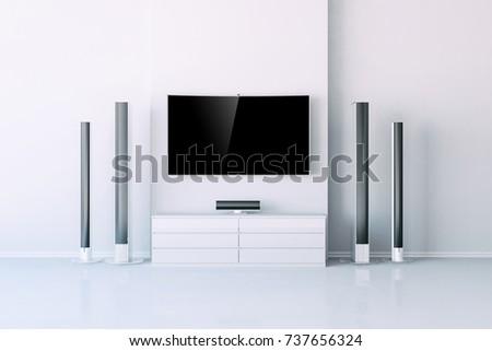 3d interior with  multimedia media system setup