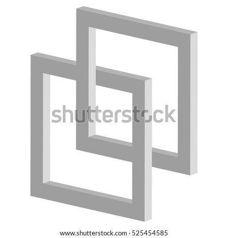 3d interlocking squares icon - Connected intersecting square frames #525454585