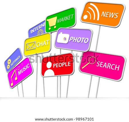 3D internet and social media icon on white background - stock photo