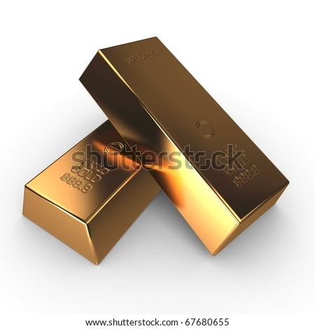 3d investment gold bars isolated on white