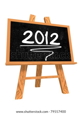 3d isolated blackboard with easel with text - 2012